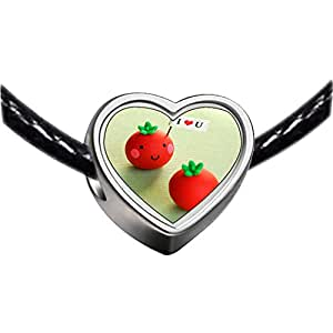 Chicforest Silver Plated I LOVE YOU Baby fruit for valentine Photo Heart Charm Beads Fits Pandora Charm