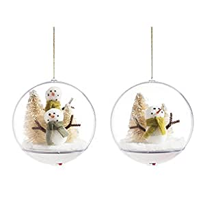 Cypress Home Crafted Snowmen LED Ball Ornaments, Set of 2