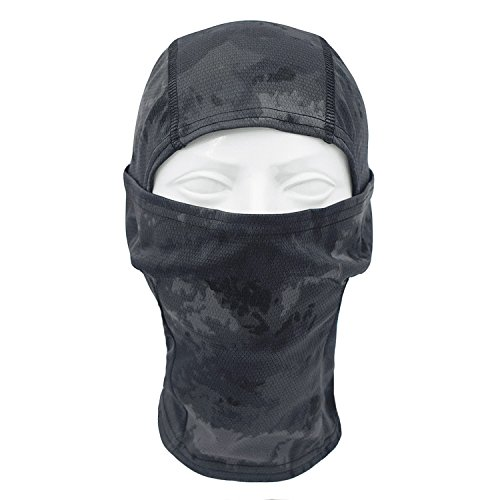 Flexible Paintball Usa Mask (TClian Camouflage Balaclava Hood Ninja Headwear Breathable & Lightweight Outdoor Cycling Motorcycle Hunting Military Tactical Helmet Liner Gear Full Face Mask (Black))