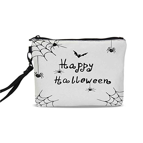 (Spider Web Simple Cosmetic Bag,Happy Halloween Celebration Monochrome Hand Drawn Style Creepy Doodle Artwork for Women,9