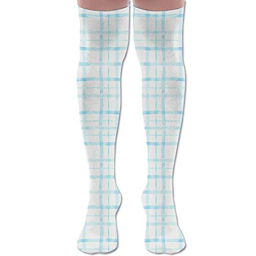 DFAUHAL Capri Picnic Tartan Aqua Fabric (3236) Knee High Graduated Compression Socks for Unisex - Best Medical, Nursing, Travel & Flight Socks - Running & Fitness