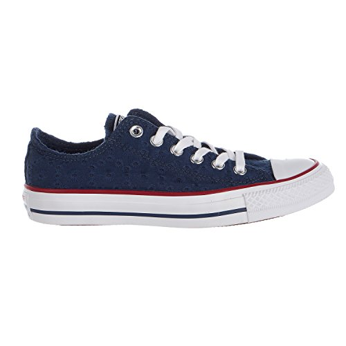 Converse Chuck Taylor All Star Eyelet Stripe Ox Shoes - Navy/Garnet/White - Womens - 7