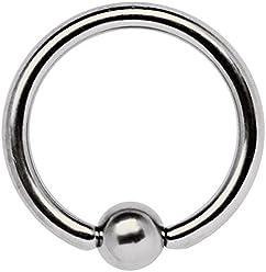 Kette Titan Intim Piercing Schmuck Ring BCR 1,2mm mit 2 Zirkonia Kugeln in 4mm