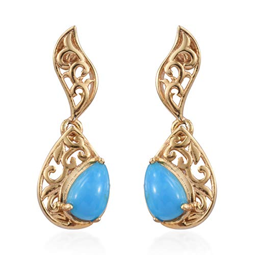 925 Sterling Silver Vermeil Yellow Gold Plated Pear Sleeping Beauty Turquoise Dangle Drop Earrings