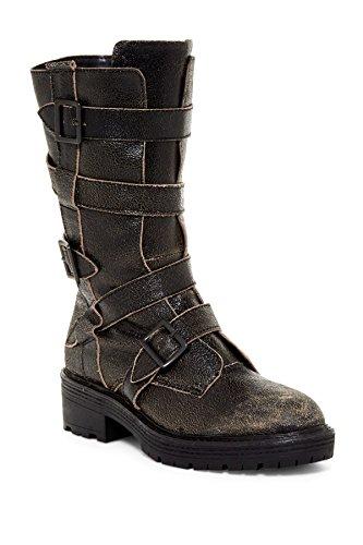 Kelsi Dolk Brooklyn Moore Black Distressed Leren Midfret Moto Buckle Boots