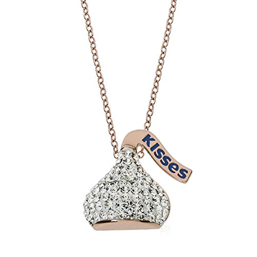 Hershey s Kisses Rose Gold Plated Sterling Silver Crystal Kiss Pendant Necklace, 18