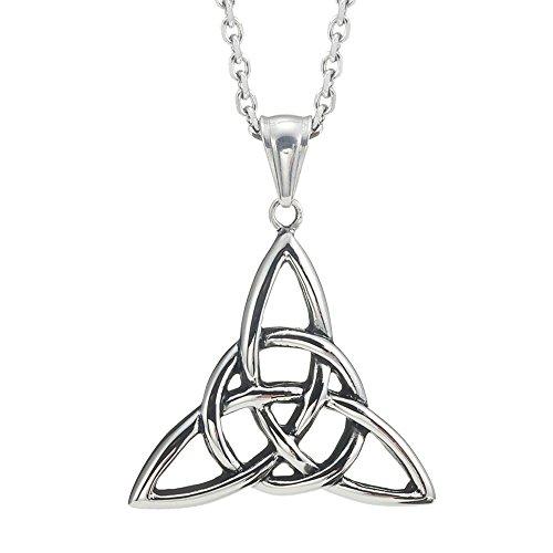 Vintage Stainless Steel Irish Triquetra Celtic Knot Amulet Pendant Necklace Black Silver Color, 21