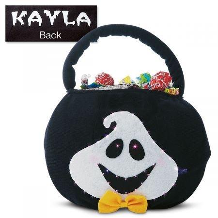 Lillian Vernon Personalized Kids Light Up Blinking Ghost Halloween Treat Bag - Polyester 7-1/2