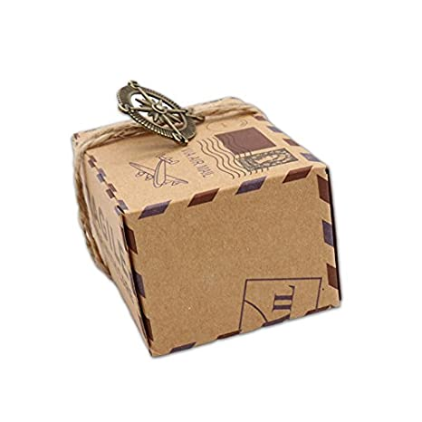 Amazon.com: Floratek 50 PCS Wedding Candy Boxes Wedding Party Favors New Stamp Design Vintage Kraft Paper Chocolate Packaging Box Gift Box for Wedding Party ...