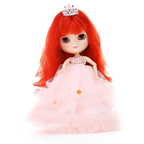 The 12 Inch Nude Doll is Similar to Blyth BJD Doll, Customized Dolls Can Be Changed Makeup and Dress by DIY, Ball Jointed Dolls Best Gifts and Hobby For Girls (red)