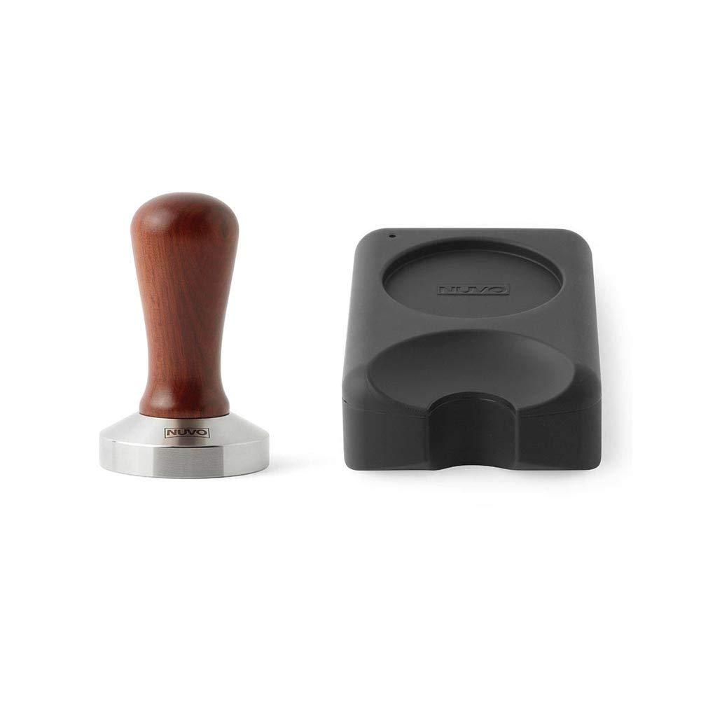 Professional Flat Base Coffee Tamper Bubinga Handle with Non-Toxic Silicon Tamping Mat