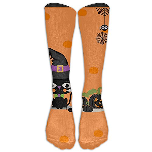 Halloween Witch Black Cat Colorful Cartoon Star Knee Socks Women Sports Novelty Cosplay Casual Long Tube Compression Socks (Halloween Clipart Witch)