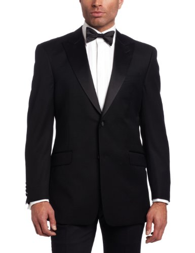Price comparison product image Tommy Hilfiger Men's 2 Button Side Vent Trim Fit Tuxedo Jacket with Peak Lapel,  Black