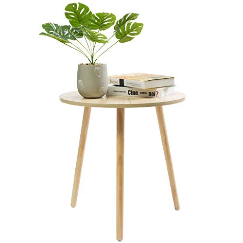 Marble Field Wooden End Table,Round Coffee/Tea Side Table,Sofa Table for Small Space,Snack Table with 3 Pine Feet,Three Legged Solid Wood End Table,19.5