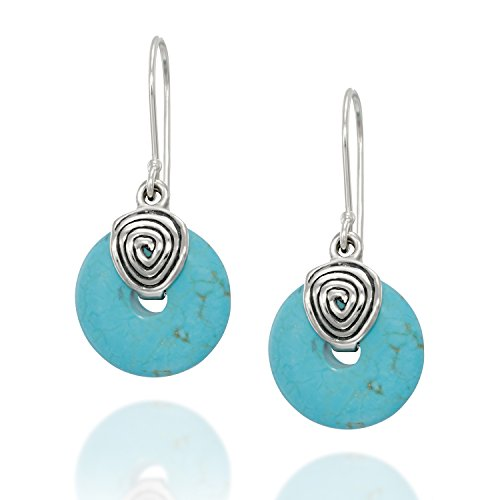 - Vintage Style 925 Sterling Silver Dangle Earrings with Round Wheel Shaped Reconstituted Turquoise