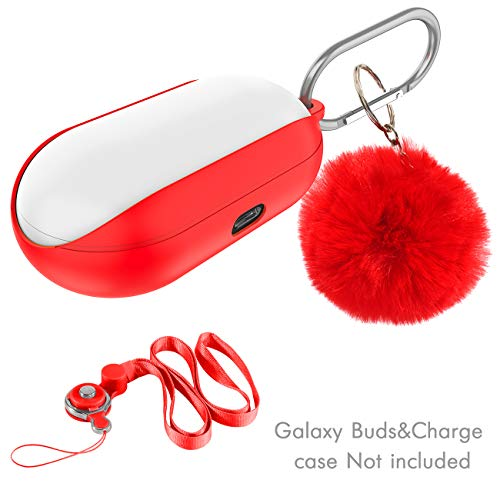 CaseRoo for Galaxy Buds Case Cover Silicone Bean 2019,Soft and Flexible Protective Accessories with Neck Lanyard,Portable Carabiner Keychain,Soft Fluffy Ball,Carrying Case for Samsung Galaxy - Bean Silicone Case