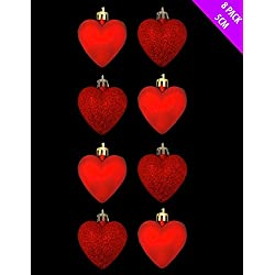 8 x 5cm RED Glitter + Matt Heart Shaped Christmas Tree Baubles