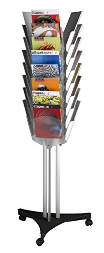 PaperFlow Triple-Sided Mobile Literature Display, 24 Pockets, Letter Size, 65.75 x 25 x 22 Inches, Silver/Black (PM024TT.01) Pocket Mobile Literature Display