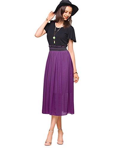 (Amoretu Womens Chiffon Casual Summer Pleated Maxi Dress (Grape Purple,S))