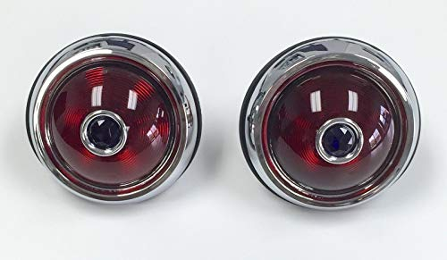 (Hot Rod 1950 Pontiac Style Glass Lens Tail Lights with Blue Dots Pair Rat Rod)