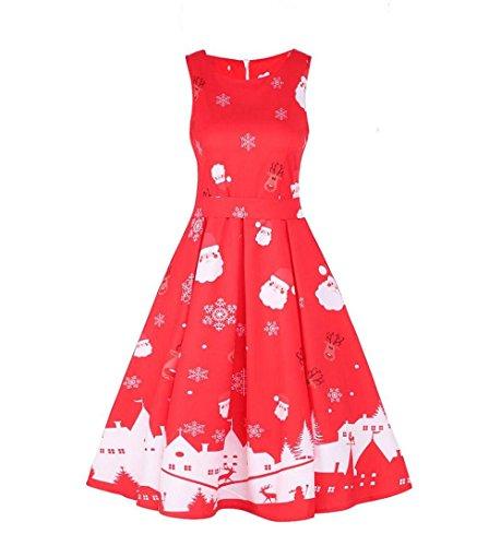 ZEZKTÄrmellos Rockabilly Kleid Damen Weihnachten Kleid Festlich ...