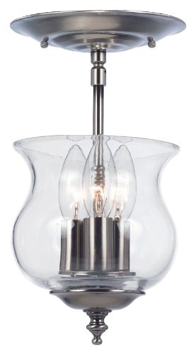 Crystorama 5715-PW Traditional Three Light Ceiling Mount from Ascott Collection in Pwt, Nckl, B/S, (Pewter Heart Lock)