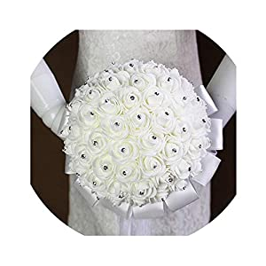 Bridal Wedding Bouquet with Pearl Beaded Romantic Bride 's Bouquet Foamflowers Ramo De Boda Flowers Bride White Satin 28
