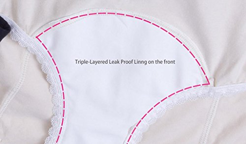 Intimate Portal Women Triple Protection Leak Proof Protective Incontinence Briefs 2-Pk Black Beige S
