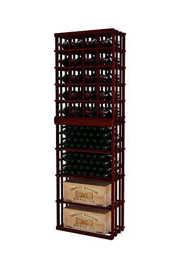 Vintner Series Wine Rack - Magnum Wine Bottle Rack Stacked on Top of Rectangular Bin for 116 Bottles - 7 Ft - Premium Redwood with Classic Mahogany Stain