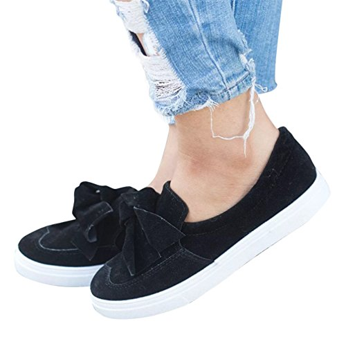 XMWEALTHY Women's Fashion Sneakers Walking Shoes Cute Bow Knot Slip On Loafers Flat Shoes Black US 9 (Comfy Bow)