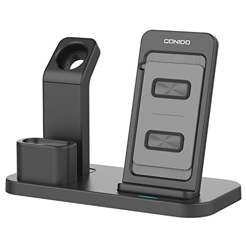 Conido-Wireless-Charger-Compatible-iPhone-3-in-1-Charging-Stand-Compatible-Apple-Watch-AirPods-Charging-Station-Stock-Holder-Compatible-iPhone-X8-Plus8-AirPodsApple-Watch-Series-321-Black