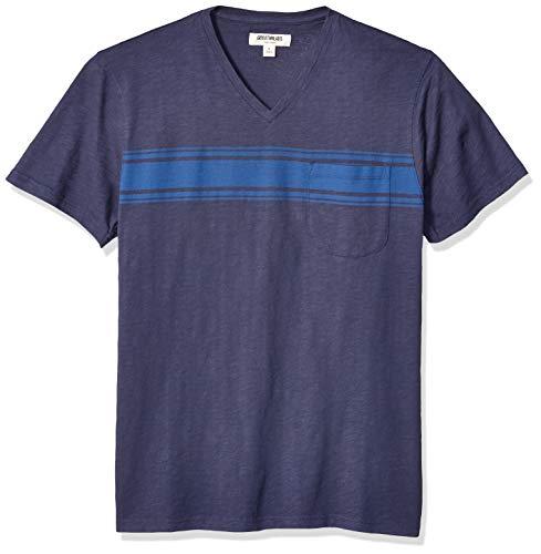Goodthreads Men's Slub Placed-Stripe V-Neck T-Shirt, Bright Blue, XX-Large