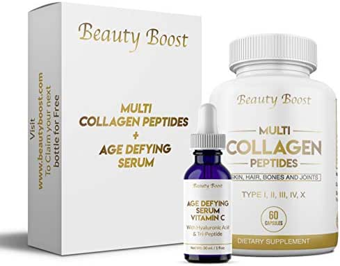 Beauty Boost - Vitamin C Age Defying Serum with Hyaluronic Acid + Multi Collagen Peptides Type I II III V X - Helps Decrease Wrinkle Depth, Reduce Fine Lines and Stretch Marks