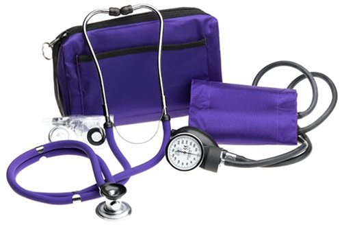 Prestige Sphygmomanometer and Stethoscope Kit with Matching Purple Carrying Case - Purple Kit