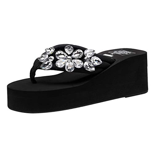 SMALLE_Shoes Wedge Flip Flops for Women,Women's High Heel Platform Flip Flops Rhinestone Sandals Summer Beach Slippers Black (Leather Stand Martingale)