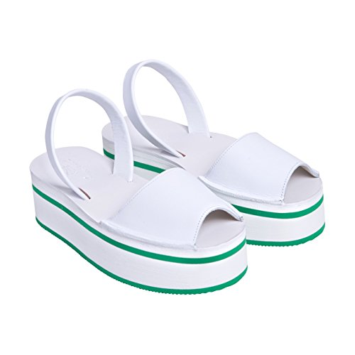 Minorquines-Sandalias Avarca Creepers tenis para mujer, diseño de rayas, color verde Blanco - blanco