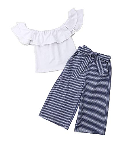 MAINESAKA Toddler Girl Stripe Off-Shoulder Tube Top + Pant Set Outfit (White, 3-4Years)