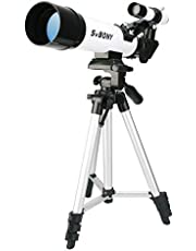 Svbony SV25 Telescopio Astronómico Zoom 420/60mm Terrestre con Trípode para Astrónomos y Niños Ideal para los Principantes (Blanco)