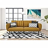 Mid-century Fold Down Futon, Living Room, Loveseat, Sleeper, Multifunctional (Mustard)