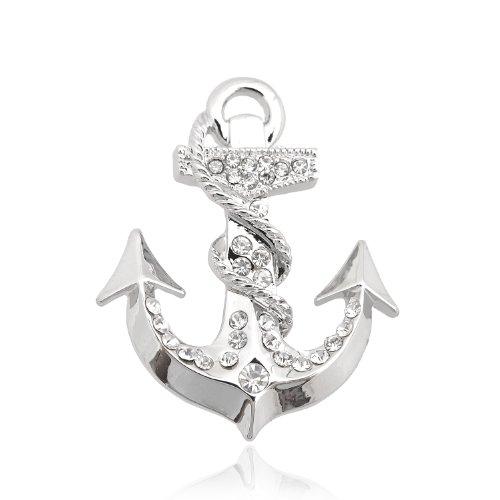 Spinningdaisy Silver Plated Crystal Anchor