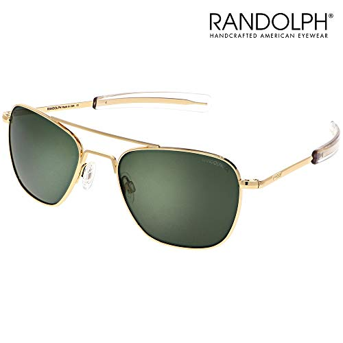Aviator Sunglasses for Men or Women - Randolph Engineering Sunglasses - Guaranteed for Life, Built to Military Specifications. Authentic Pilot Aviators. Made in USA. 23k Gold AGX Green Polarized, 58mm (Beste Aviator Sonnenbrille Für Männer)