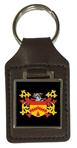 Minton Family Crest Surname Coat Of Arms Brown Leather Keyring Engraved ()