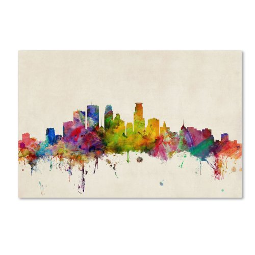 Trademark Fine Art Minneapolis Minnesota Artwork by Michael Tompsett, 16 by 24-Inch Canvas Wall Art