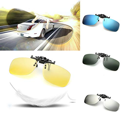 Lunettes on Soleil Clip de 1 Up métal de Clip en Hommes Square Luckiests Flip Fashion Polarized ppqH8