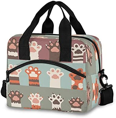 Lunch Bag Cat Paw Lovely Lunch Tote Bag Leakproof Insulated Reusable for Women Men Work Picnic Beach Hiking, Lunch Box with Adjustable Shoulder Strap