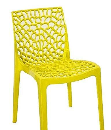 Dzyn Furnitures Web Chair Yellow, Plastic