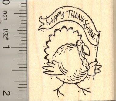Happy Thanksgiving Turkey Rubber Stamp