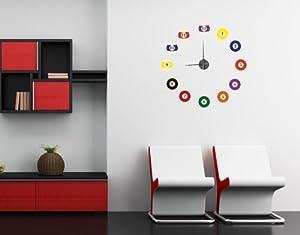 Wandtattoo-Uhr Billiardkugeln ( Größe: 80cm x 80cm ) Motiv-Nr: DU 1023