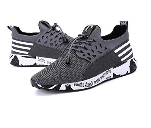 WZG Nuevas zapatillas de deporte casuales de los hombres jóvenes transpirables zapatos de malla de los hombres corrientes calza las sandalias tejidas mosca deep grey