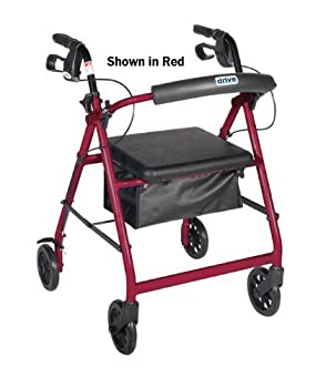 Drive Medical (a) Rollator 4-Wheel With Pouch & Padded Seat Black - Drive by Complete Medical
